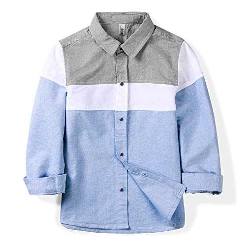 OCHENTA Boys' Long Sleeve Button Down Oxford Shirt, Little Big Kids Color Block Casual Dress Tops Blue Tag 120CM - 5Y (Boys Oxfords Casual)