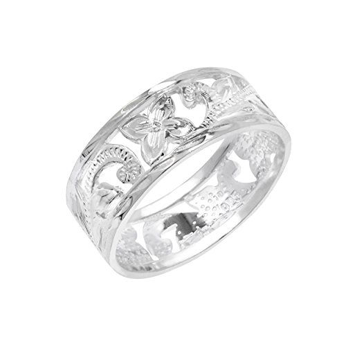 Honolulu Jewelry Company Sterling Silver Hawaiian Open Plumeria Ring(5)