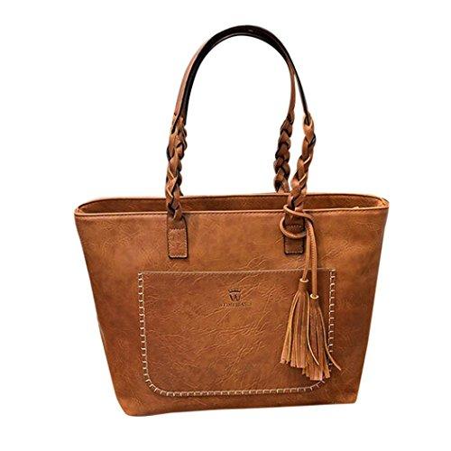 Clearance Rakkiss Women's Leather Handbag Shoulder Messenger Bag Ladies Tassels Satchel Tote Bags (Brown) (Designer Miu Miu Bags)
