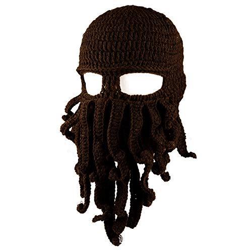 Zuozee Octopus Beanie Hat,Knit Octopus Mask Beard Balaclavas,Octopus Cosplay Costume Halloween Christmas Men Women Dark Brown]()