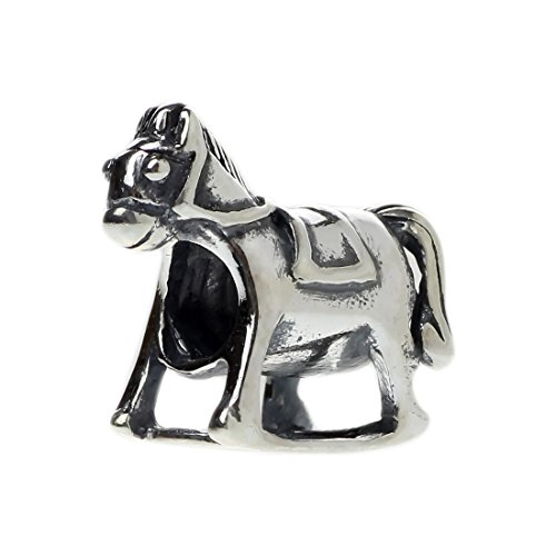 (Beads Hunter 925 Sterling Silver Rocking Horse Charm For European Bracelet)