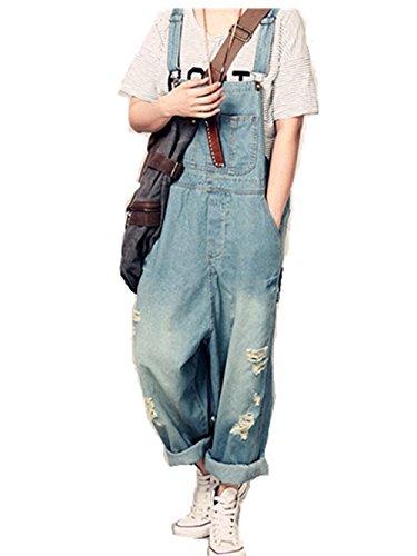 ユーモア有限直立レディース ズボン パンツ レディースデニム オーバーオール オールインワン サロペット スタイリッシュ ゆったり  大きいサイズ   ジョガー ジョガーデニム ジーンズ ダメージ加工 スキニーデニム ダメージ 夏用