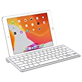 OMOTON Ultra-Slim Bluetooth Keyboard with Sliding Stand - Compatible with iPad 10.2 9.7 - iPad Air 10.5 - iPad Pro 11 12.9 - iPad Mini 5 4 - iPhone and Others - White