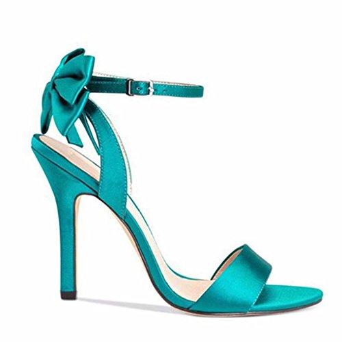 SHEO sandalias de tacón alto Los tacones altos de las mujeres expuestos con las sandalias del satén del satén Verde