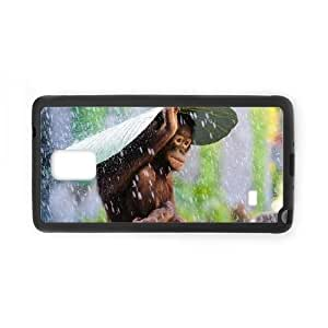 Customized America Photography Award Cell Phone Case for Samsung Galaxy Note 4 with Orangutan using a banana leaf to shield itself from the rain _8987359