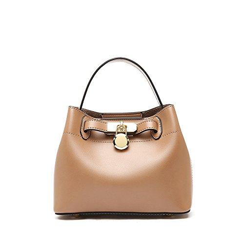 Apricot Leisure Bag Red Wide Amyannie Simple Color PU Strap Bucket Shoulder Messenger 17qwP8qaW