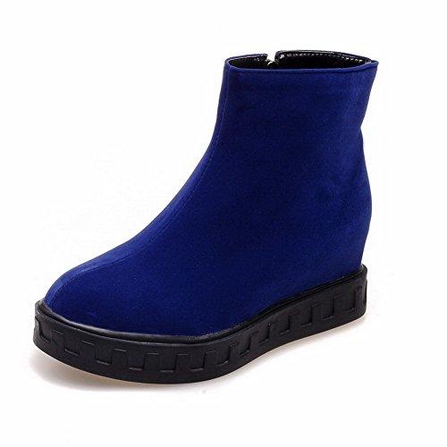 Allhqfashion Donna Tacco A Tacco Solido Tacco Chiuso Con Zip Blu Smerigliato Stivali Blu