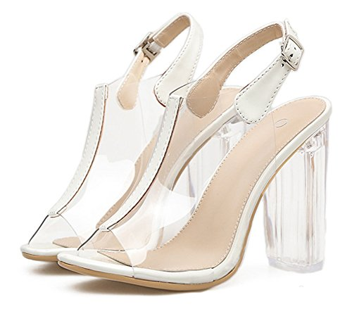 Zehen Offene Transparent Sandale Damen Aisun mit Kunststoff Blockabsatz Weiß Schnalle Slingback qCfEwxt