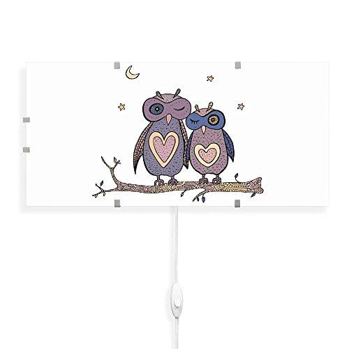 banjado - Wandlampe 56cmx26cm Design Wandleuchte Lampe LED mit Wechselscheibe und Motiv Verliebte Eulen, Wandlampe mit 2x 6W LED Leuchtmittel