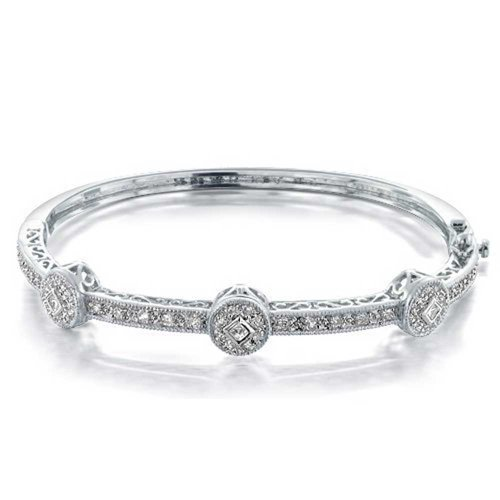 Bling-Jewelry-Bridal-CZ-Past-Present-Future-Bangle-Bracelet-Rhodium-Plated