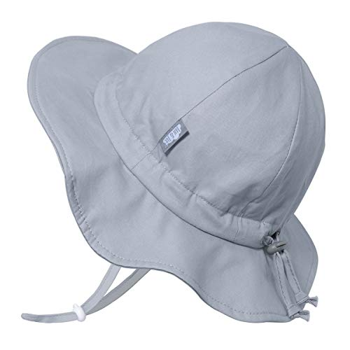 Baby Girl Boy Cotton Sun Hat 50 UPF, Adjustable Good Fit, Stay-on Tie (S: 0-6m, Grey)