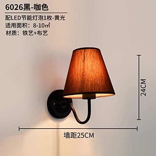 Agorl Im amerikanischen Stil Wandleuchte einfaches modernes Wohnzimmer-Gang-Schlafzimmer-Treppenhauslicht am Bett, 6026-1 schwarzer Kaffee - gelbes Licht