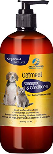 Hira Bahatech Inc. Andy Anand's Natural Hemp with Oatmeal Dog Shampoo + Conditioner for Regular Skin in One for Dogs and Cats-Hypoallergenic and Soap Free with Aloe for Allergies (16 fl. oz) by Hira Bahatech Inc.