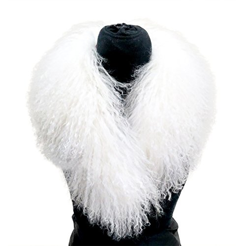 MINGCHUAN Mongolian Fur Collar Women's Winter Scarf Neck Warmer Collars (White)