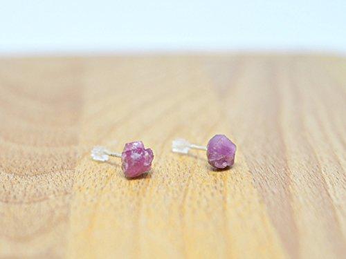 Earrings Simple Gemstone (Rose quartz stud earrings - Handmade earring studs - Pink gemstone earrings - 925 silver earrings - Gemstone earrings - Rough stone earrings - Raw Crystal Earrings - Country girl earrings)