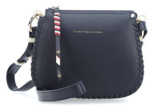 Tommy Hilfiger Damen Stitch Leather Crossover Umhängetasche, Blau (Tommy Navy), 8x18x21 cm
