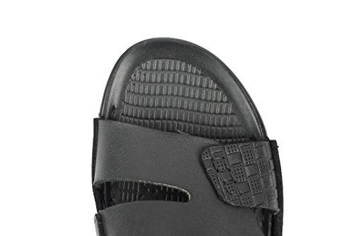 Strap Sandals Black Beach 10 Sliders 7 Slip Size On 9 Adjustable Leather Real Mens Black Brown 6 8 dSIxwYY