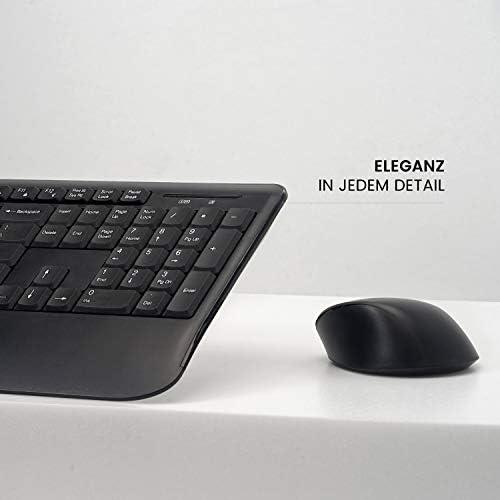 Perixx PERIDUO-714 Clavier sans fil standard plein format avec pavé numérique et souris de bureau, 2,4 GHz, connexion sans fil, récepteur USB, noir