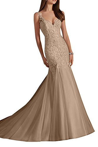 Elfenbein Charmant Brautmode ausschnitt traeger Schnitt Spitze Brautkleider V Schmaler Damen Hochzeitskleider breit Champagner 55rgPw4q