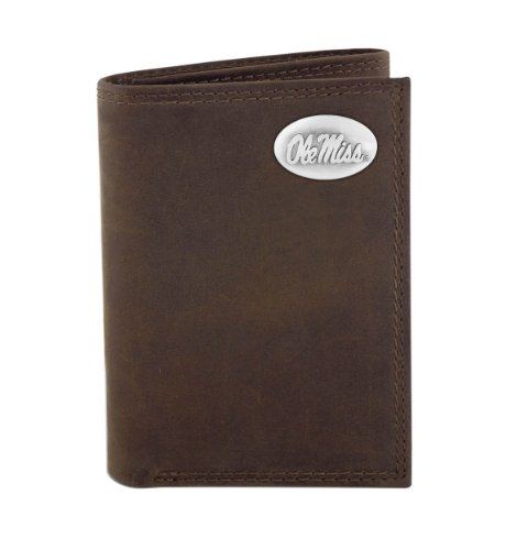 NCAA Mississippi Old Miss Rebels Zep-Pro  Crazyhorse Leather Trifold Concho Wallet, Light Brown