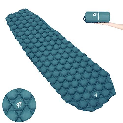 Mummy Pad - RAIN Dew+Home Inflatable Ultralight Camping Sleeping Pad, Lightweight Inflating Mat Air Mattress Compact for Backpacking, Hiking, Mummy Sleeping Bag, Hammock, Cot, Tent, Beach, Travel (Gray Blue)