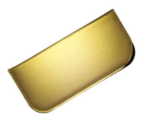 Soft Slip In Eyeglass Case For Women & Men - Matte Metallic Finish in Gold (Gold Soft Finish)