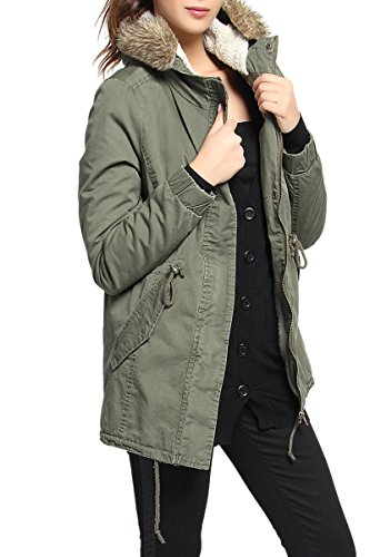 - TheMogan Women's Sherpa Fur Lined Hooded Drawstring Anorak Parka Olive L