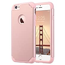 iPhone 6 Case, iPhone 6S Case, ULAK Slim Dual Layer Protective Case Fit for Apple iPhone 6 (2014) / 6S 4.7 inch (2015) Hybrid Hard Back Cover and Soft Silicone-Rose Gold