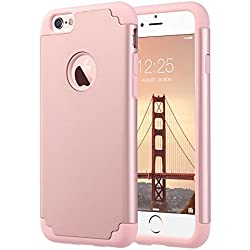 ULAK iPhone 6S Case,iPhone 6 Case, Slim Fit Dual Layer Soft Silicone & Hard Back Cover Bumper Protective Shock-Absorption & Skid-Proof Anti-Scratch Case for Apple iPhone 6 / 6S 4.7 inch- Rose Gold