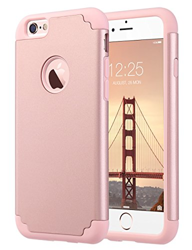iPhone 6S Case,iPhone 6 Case, ULAK Slim Fit Dual Layer Soft Silicone & Hard Back Cover Bumper Protective Shock-Absorption & Skid-proof Anti-Scratch Case for Apple iPhone 6 / 6S 4.7 inch- Rose Gold (Tpu Skin Plastic)