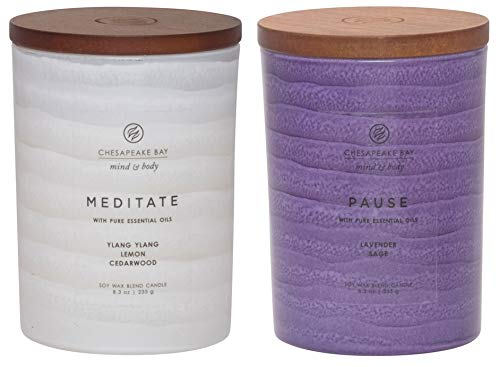 - Chesapeake Bay Candle Mind & Body Serenity Scented Candle, Meditate with Pure Essential Oils (Ylang Ylang, Lemon, Cedarwood) + Pause with Pure Essential Oils (Lavender and Sage), Medium