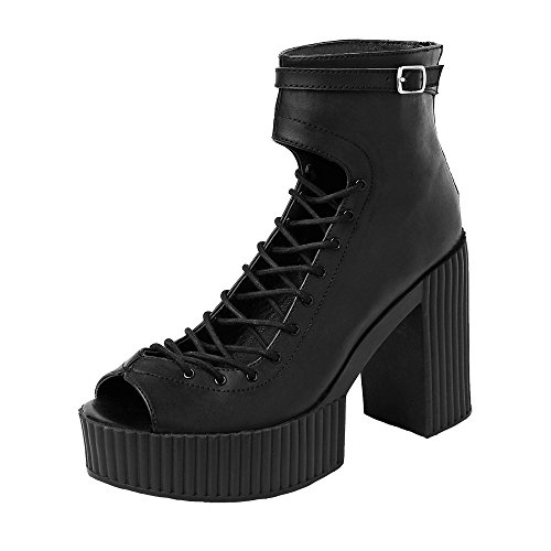 [T.U.K. Shoes A9044L Black Front Tie Boot] (Ostrich Costume Australia)