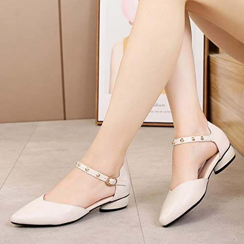 Word KPHY And Thick Women'S Beige Single Eight In Leather Low Wild Thirty Baotou Shoes Summer Pointed YYSqw