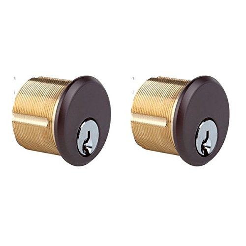 Mortise Keyed Cylinder Lock in Bronze finish - KD per pair, sold in pair SC1 keyway. Durable commercial & residential, door hardware, door handles, locks by Rockwell