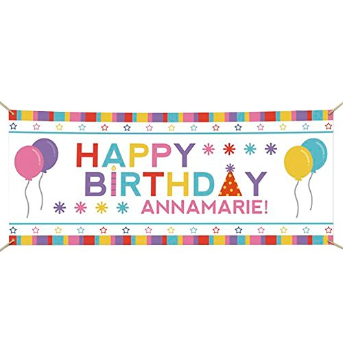 GiftsForYouNow Personalized Happy Birthday Banner, Pink