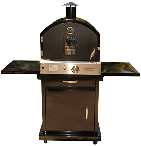 Pacific Living Outdoor Large Capacity Gas Oven with Pizza Stone, Smoker Box and Mobile Cart, Black Powder Coat