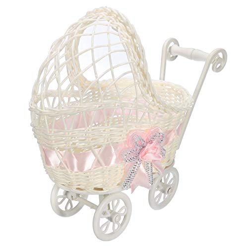Baby Shower Centerpiece Stroller Wicker Carriage Baby Shower Favor Decoration (Pink)