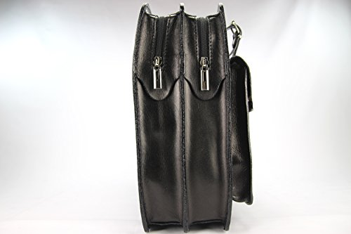 Business- und Laptoptaschen Italienische Luxus Aktentasche L (Rot) Schwarz