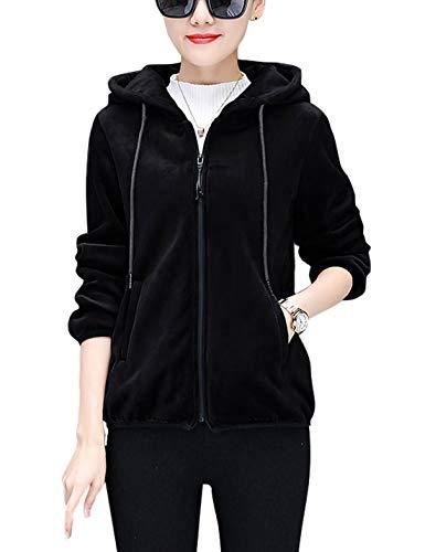 Omoone Women's Zip Up Double Side Plush Hoodie Fleece Thicken Sweatshirt Jacket (Black, M)