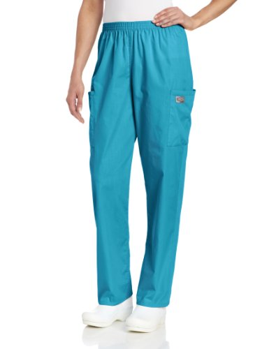 Scrub Zone Women's Durable 2-Pocket Elastic Waist Classic Fit Cargo Scrub Pant, Teal, Small Petite ()