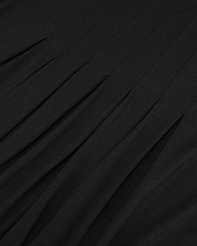 Moitié Femme Manches Taille Empire Casual Robe Plissée Robes Swing Simple De Longueur Du Genou Noir