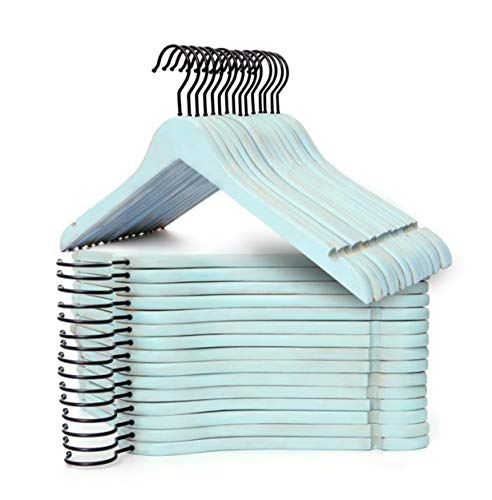 Topline Classic Wood Shirt Hangers - Vintage Blue Finish (30-Pack)