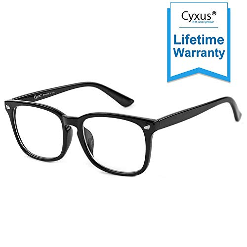 Cyxus Blue Light Filter Computer Glasses for Women Men Blocking UV Headache [Anti Eye Eyestrain] Transparent Lens Gaming Glasses, Unisex (17 Colours Available) (8082T01,Classic Black)