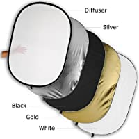 Fotodiox Pro 5-in-1 Reflector - 22in (55cm) Premium Grade Collapsible Disc (Silver/Gold/Black/White/Diffuser)