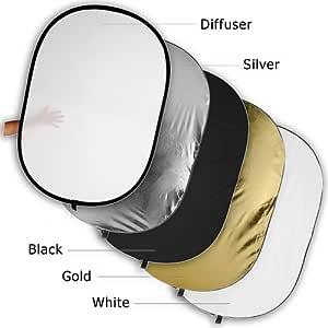 Fotodiox 40x60 5-in-1 Oval Reflector Pro, Premium Grade Collapsible Disc, Soft Silver/Gold/Black/White/Diffuser