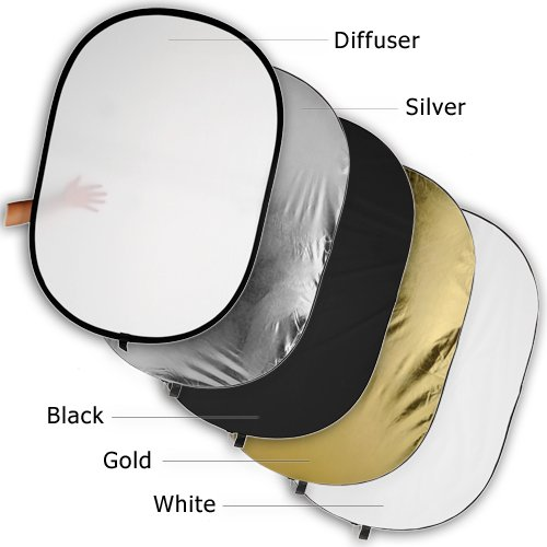 Fotodiox Pro 5-in-1 Reflector - 48x72in (120x180cm) Premium Grade Collapsible Disc (Silver/Gold/Black/White/Diffuser) by Fotodiox