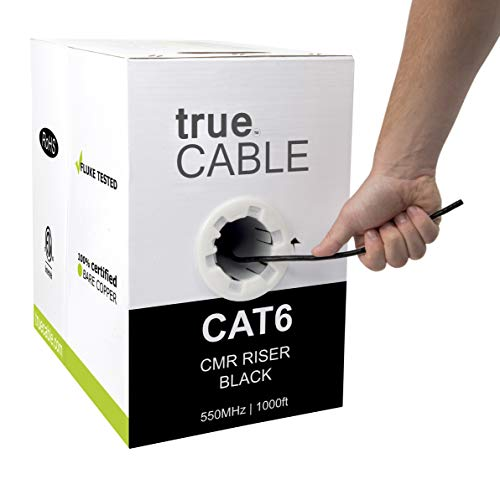 Cat6 Riser (CMR), 1000ft, Black, 23AWG 4 Pair Solid Bare Copper, 550MHz, ETL Listed, Unshielded Twisted Pair (UTP), Bulk Ethernet Cable, trueCABLE (Best Cat6 Cable Brand)