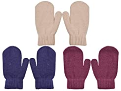 PZLE Kids Knit Mittens Winter Cashmere W...