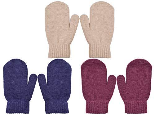 PZLE Kids Knit Mittens Winter Cashmere Warm Stretch 3 Pairs Navy Beige and Winered 3-6 - Fleece Stretch Mittens
