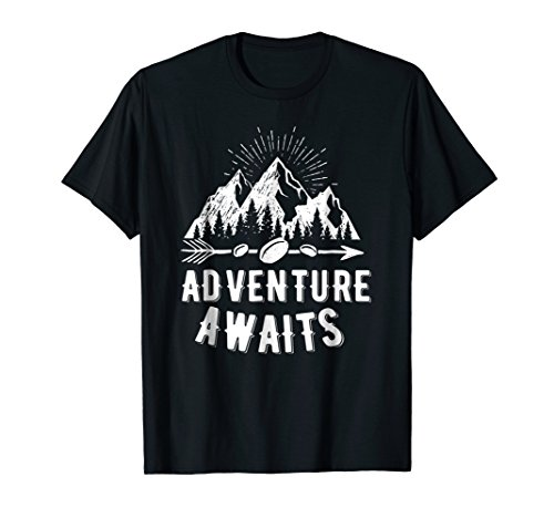 Adventure Awaits Camping, RV, and Outdoor Travel T-shirt by Adventure shirts and tees